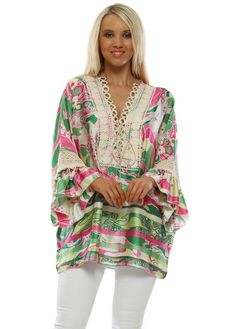 Stylish designer pink and green tops available online now at Designer Desirables. Browse all Port boutque tops delivered Free & free returns Kaftan Style, Going Out Tops, Cotton Crochet, Green Print, Green Tops, Pink And Green, Summer Outfits, Skinny Jeans, Tie