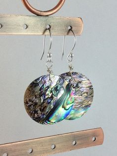 Round abalone shell earrings. Sterling silver jewelry. Natural Paua shell earrings from Gems by Kelley on Etsy.