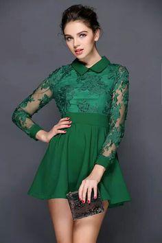 815a4953e471 Vivid Flower Mesh Lace Skater Dress in Green Led Dress