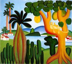 Cartão postal, 1928 Tarsila do Amaral (Brasil, 1886-1973) óleo sobre tela, 127 x 42 cm – – Céu azul – Roberto de Almeida Júnior – – Céu azul de minha terra, de minha …