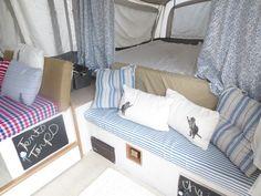 Vintage Camper Interior Ideas for Pop Up Camper - Go Travels Plan Tent Trailer Camping, Pop Up Tent Trailer, Best Tents For Camping, Tent Trailers, Travel Trailers, Vintage Camper Interior, Vintage Campers, A Frame Tent, Popup Camper