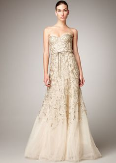 Monique Lhuillier Strapless Tulle Chantilly Lace Gown  Price:$9,490.00