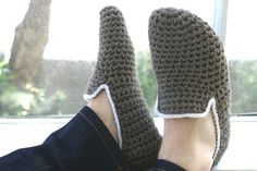 His and Hers Crochet Slippers by WhiteNoiseMaker on Etsy, $50.00
