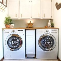 "Laundry room decor ""Wash"" ""Dry"" vinyl decal set, washing machines and dryers. farmhouse laundry room decor with floral wreath Farmhouse Laundry Room, Basement Laundry, Laundry Area, Washing Machine And Dryer, Washing Machines, Diy Projects Cans, Selling Handmade Items, Tray Decor, Better Homes"