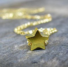 Dainty Gold Star Necklace Tiny Gold Plated Stering Silver