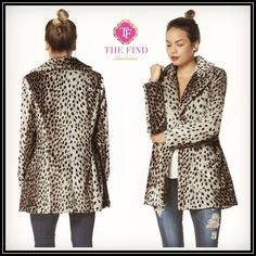 """Phoebe Faux-Fur Leopard Jacket  ** Small Measurements:  Approx 30"""" Long.  Shoulder across 15"""" .   Bust: 17"""" Flat Across.   Add 1"""" per size.  S: 2/4 M: 6/8 L: 8/10  $79.00, Free Shipping Options: Small, Medium, Large"""