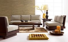 Decoration: Inexpensive Living Room Sets With Minimalist Wood Table And Chairs Using Cushion Ideas, Room Decor on Budget, Home Remodeling Tips ~ Noemmi.com