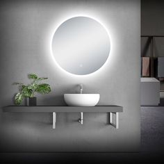 Orren Ellis Dietlinde Modern Lighted Bathroom Mirror Size: x Barn Wood Bathroom, Rustic Bathroom Vanities, Pedestal Sink Bathroom, Bathroom Ideas, Led Mirror, Mirror With Lights, Mirrors, Modern White Bathroom, Dark Bathrooms