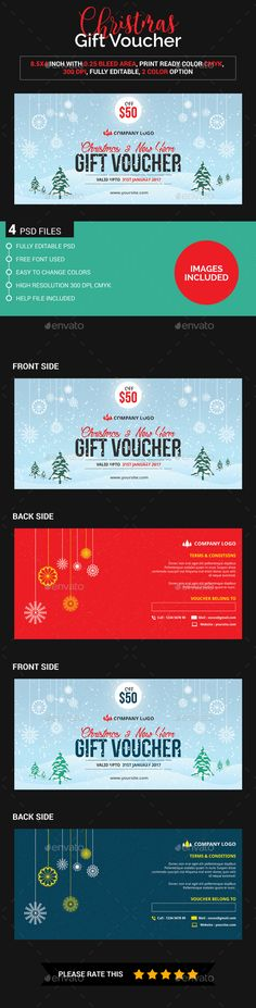 Christmas Gift Voucher (Images Included) Template PSD