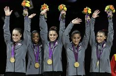 America's golden girls: Team USA's female gymnastics team win first gold medal for 16 years and leave their Russian rivals in tears   The golden girls: (left to right) Jordyn Wieber, Gabrielle Douglas, McKayla Maroney, Alexandra Raisman, Kyla Ross