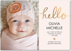 Hello Love - Girl Photo Birth Announcements - Baby2Baby - Chenille - Pink : Front