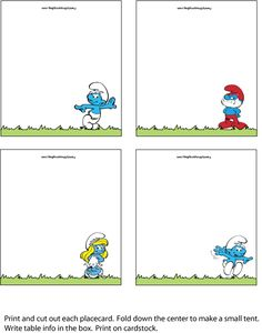 Smurfs place card printable