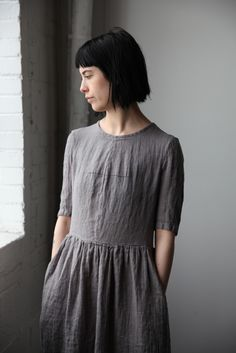 Mathilde Short Sleeve Linen Dress - Grey