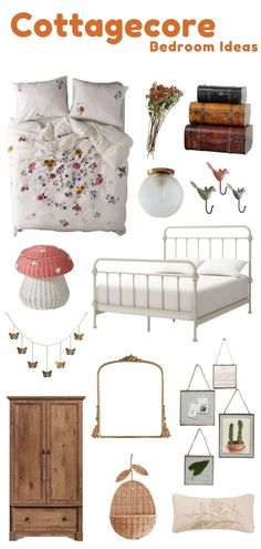 Create your dream cottagecore bedroom aesthetic with my selection of cottagecore bedroom ideas. Decorate your bedroom with a white metal cottage bed frame and country floral bedding and blankets. Hang cottagecore artwork such as vintage frames, paintings, and prints on your wall to create cozy room decor. Click the link to find more cottagecore room ideas to help you makeover your bedroom. Elegant Bedroom Design, Master Bedroom Design, Living Room Decor, Bedroom Decor, Bedroom Ideas, Whimsical Bedroom, Romantic Master Bedroom, Small Apartment Decorating, Cozy Room