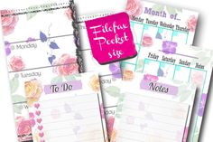 Filofax pocket printable kit flower, week, month, to-do and notes,refill, filofax inserts,6 planner pages, Instant Download, PDF! by Sorocashop on Etsy