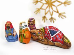 The Magi and Camel. Rock painting by Ernestina Gallina, Pietrevive. s://www.etsy.com/shop/LivingRocks  www.facebook.com/...