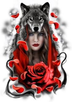 Little Red Riding Hood designe tattoo Wolf Tattoos, Body Art Tattoos, Tatoos, Wolves And Women, Cute Tats, Wolf Spirit Animal, Ange Demon, Wolf Love, Wolf Pictures