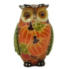 Illuminate your deck with a decorative touch. This #Solar Harvest Owl is brightly painted with the colours of autumn.