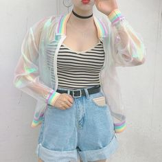 Quality Harajuku Summer Women Jacket Laser Rainbow Symphony Hologram Women BasicCoat Clear Iridescent Transparent Bomber Jacket Sunproof with free worldwide shipping on AliExpress Mobile Mode Harajuku, Harajuku Fashion, Kawaii Fashion, Harajuku Style, Indie Outfits, Korean Outfits, Casual Outfits, K Fashion, Womens Fashion