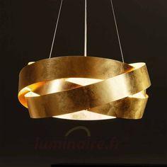 Elégante suspension Pura avec feuille dorée, référence 6504427 - Lampes et luminaires dorés pour faire briller votre décoration intérieure chez Luminaire.fr !