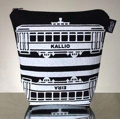 Tram -meikkilaukku // Tram make-up bag (Design by Pisama Design) Fabric Design, Bag Design, How To Make, Bags, Inspiration, Diy, Fashion, Handbags, Biblical Inspiration