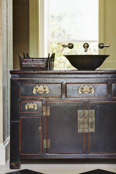 antique bureau vanity by Thomas Hamel