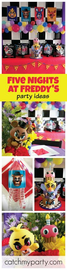 A great Five Nights at Freddy's Birthday party! Just look at the amazing Birthday Cake! See more party ideas at CatchMyParty.com