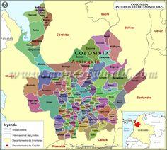 Mapa de Antioquia Colombia