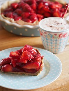 Homemade strawberry pie on pretty GreenGate by Paperdolls & Posies
