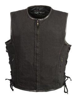 Patch Master Black Denim Motorcycle Club Vest Gun Pockets Side Lace