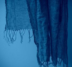 Indigo Muslin Scarf Long hand dyed with knotted by TheLinenLab, $26.00