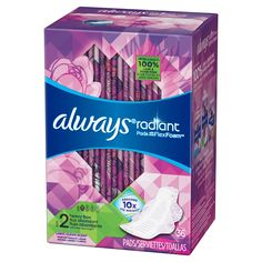 Always® Radiant Light Clean Scent Size 2 Heavy Flow with Flexi-Wings™ Pads with Flex Foam™ 36 ct Box Period Kit, Period Pads, Always Pads, Feminine Pads, Makeup You Need, Feminine Hygiene, Personal Hygiene, Beauty Care, Body Care
