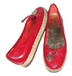JUICY COUTURE~RED~SOFT LEATHER *GOLD CHARM* COMFORT~FASHION BALLET FLATS SHOES~7 #JuicyCouture #BalletFlatsEspadrillesFashionFlatShoesComfor #Casual