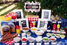 I want to do a hot dog bar but with less of a picnic feel and more of an outdoors rustic camping feel