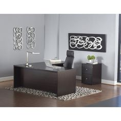 This setup is perfect for any office setting. Featuring an L-shaped desk and mobile pedestal, this combination is a great way to quickly set up and design your office space. This L-Shaped Executive De