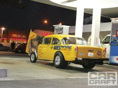 #Yellow 9-Second Straight-Axle 1955 Chevrolet Drag Car