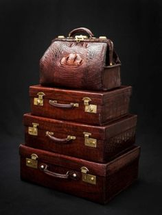 This is the packed luggage waiting for you at the door when you arrived ~ Vintage English Crocodile Luggage Collection Vintage Suitcases, Vintage Luggage, Vintage Bags, Luggage Sets, Travel Luggage, Travel Bags, Lv Luggage, Leather Luggage, Travel Backpack