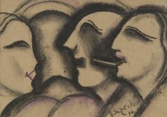 Hugo Scheiber 'Im Gespräch' ca.1920.