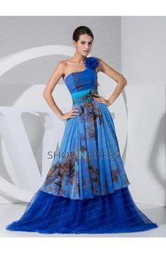 Flower Zip up Chiffon Prom Dress