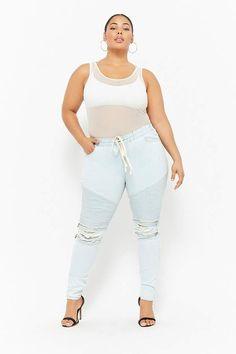 b1370682060 Forever 21 Plus Size Distressed Drawstring Moto Jeans plussize  denim   plussizedenim plussizedenim