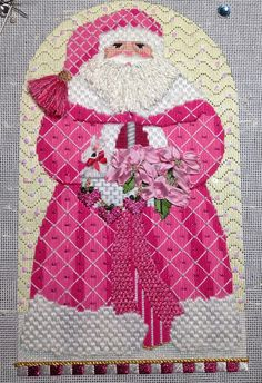 """tammybobammy: """" needlepointersanonymous: """" Pretty in Pink! Why am I posting Christmas-themed work? Because for those of us who do needlepoint, we have to start early. Holiday needle work requires a long lead time at the finishers because we all have. Needlepoint Stitches, Needlepoint Patterns, Needlepoint Canvases, Needlework, Cross Stitch Alphabet Patterns, Biscuit, Needlepoint Christmas Stockings, Machine Embroidery Projects, Pink Suit"""