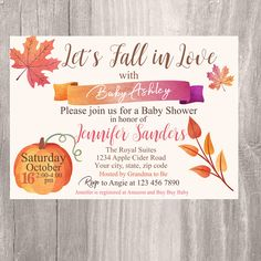 Baby Shower Cards, Baby Shower Themes, Baby Shower Decorations, Shower Ideas, Baby L, Fall Baby, Sip And See, Printable Baby Shower Invitations, Baby Shower Fall