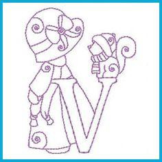 Sunbonnet alfabeto invierno - Gratis Instant diseños de máquinas de bordado