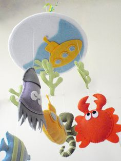 "Baby Crib Mobile - Baby Mobile - Nursery Crib Mobile -Underworld nursery room - Rainbowl Mobile ""Under the sea"". $90.00, via Etsy."