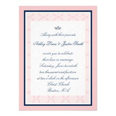 Pink, Navy Blue Traditional Wedding Invitation