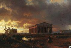 Oswald Achenbach -Bei den antiken Tempelanlagen von Paestum