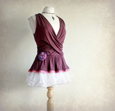 Burgundy Tank Upcycled Clothing Romantic Shirt Grecian Draped Top Eco Friendly Women's Clothes Frilly Top Small 'KATE'