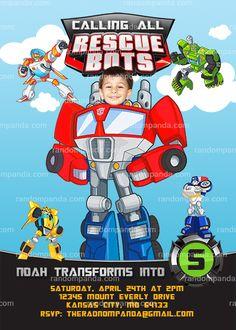 Personalize Rescue Bots Invitation, BE Optimus Prime Invite, Transformers Party