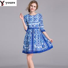 Runway Dress 2016 Summer New Half Sleeve Classic Blue And White Print Knee-Length Elegant Casual Brand Fashion Dress For Girls * Click image for more details.