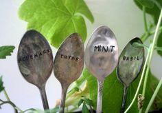 Vintage Silverware Garden Marker - Mint Basil Rosemary Thyme by Monkeys Always Look monkeysalwayslook
